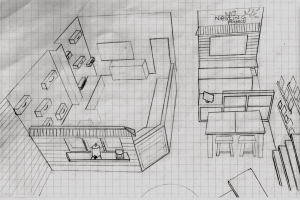 Sketch of Main Workshop (left) framed by pony wall and windows with Assembly work area, cashier counter and conference table (right).